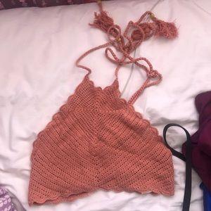 Peach Knit Halter Top
